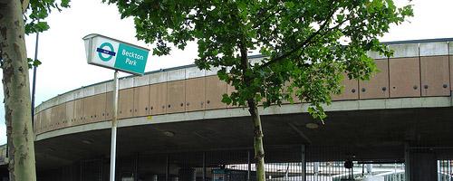 Leaves outside Beckton Park DLR station