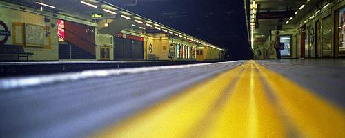Blackfriars underground station, mostly empty.