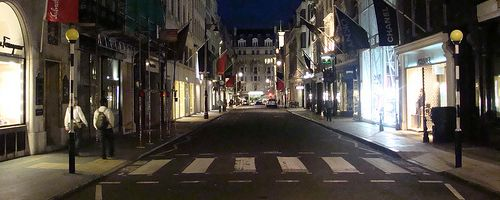 Bond Street at night.