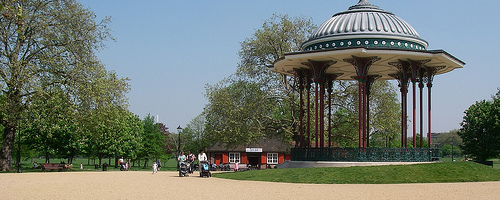 Clapham Common bandstand.